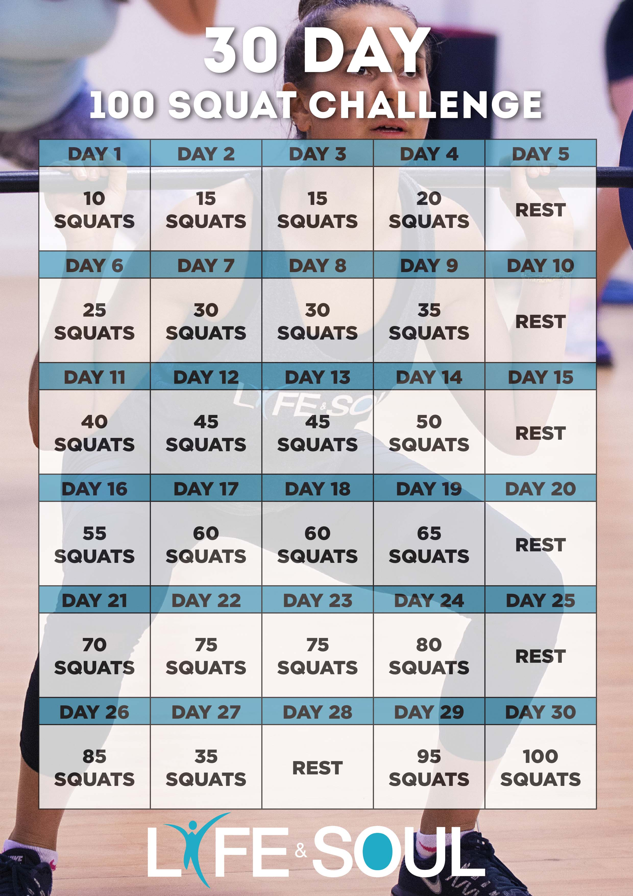 30 Day Squat Challenge - Life & Soul